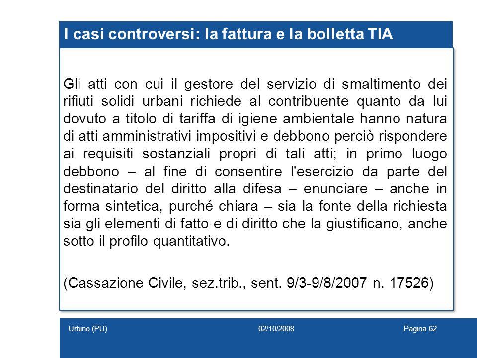 I casi controversi: la fattura e la bolletta TIA