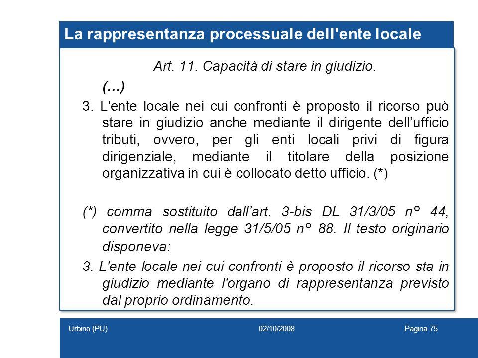 La rappresentanza processuale dell ente locale