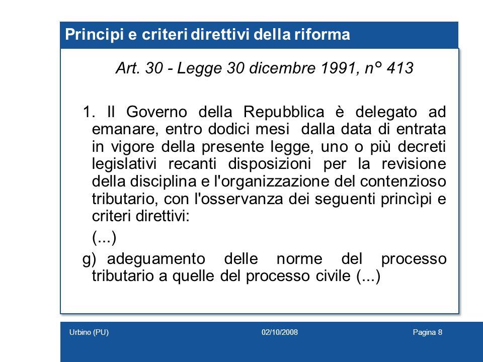 Principi e criteri direttivi della riforma