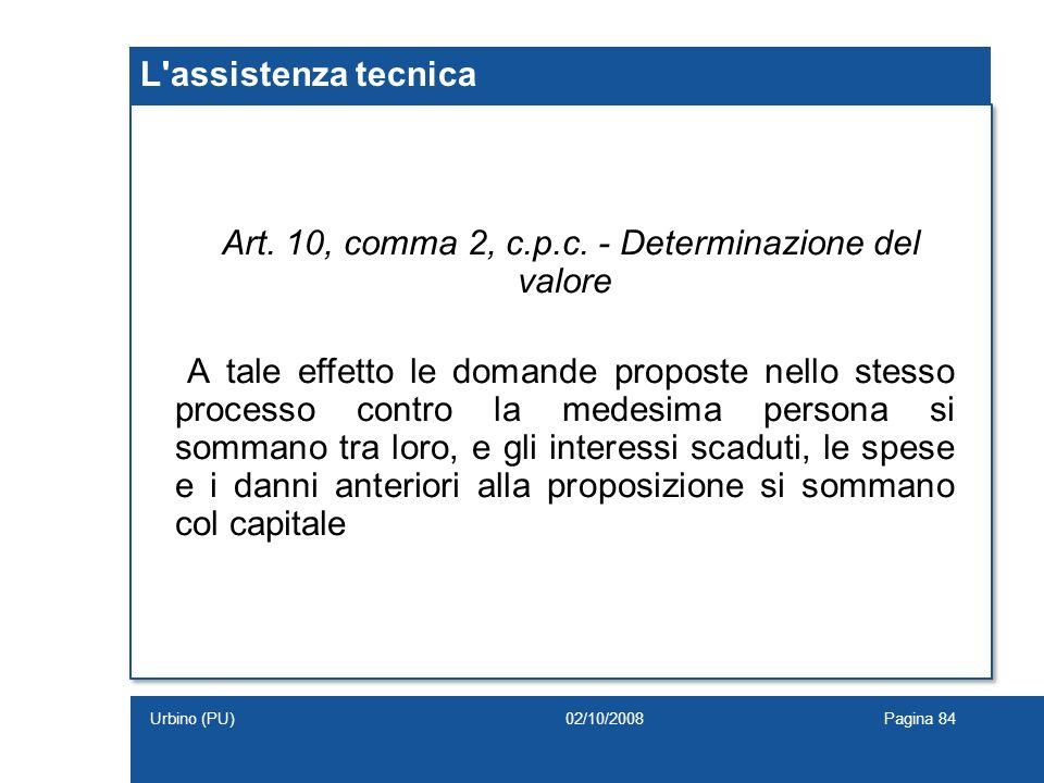 Art. 10, comma 2, c.p.c. - Determinazione del valore