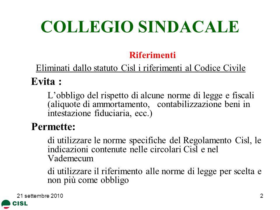 COLLEGIO SINDACALE Evita : Permette: