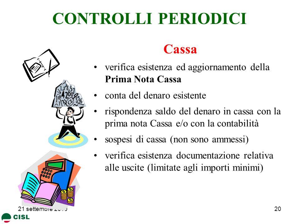 CONTROLLI PERIODICI Cassa