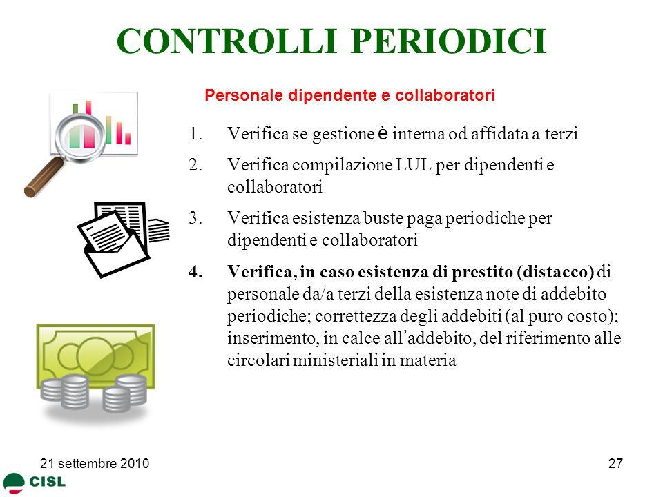 CONTROLLI PERIODICI Verifica se gestione è interna od affidata a terzi