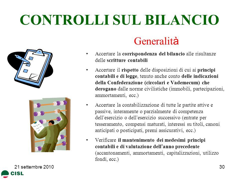 CONTROLLI SUL BILANCIO