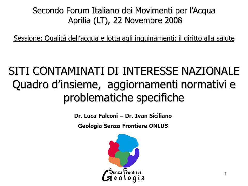 Dr. Luca Falconi – Dr. Ivan Siciliano Geologia Senza Frontiere ONLUS