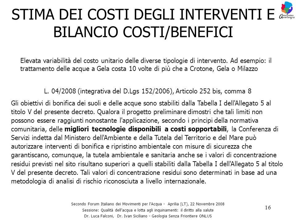 STIMA DEI COSTI DEGLI INTERVENTI E BILANCIO COSTI/BENEFICI