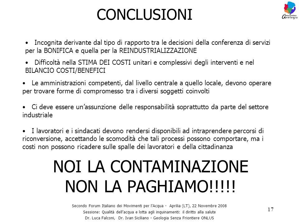 NOI LA CONTAMINAZIONE NON LA PAGHIAMO!!!!!