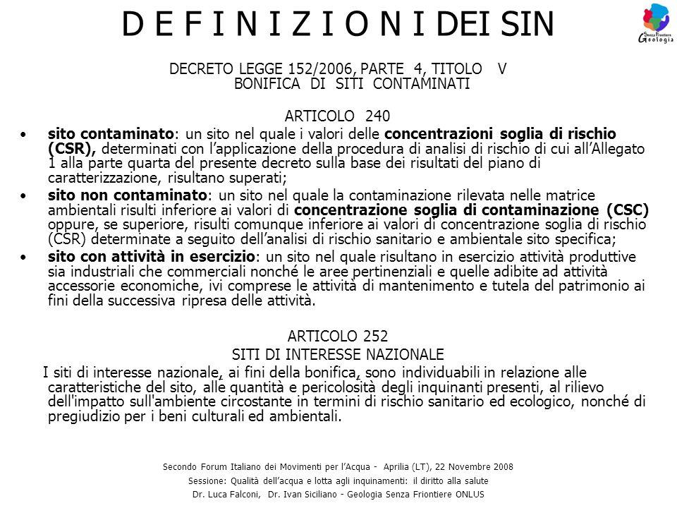 D E F I N I Z I O N I DEI SIN DECRETO LEGGE 152/2006, PARTE 4, TITOLO V BONIFICA DI SITI CONTAMINATI.