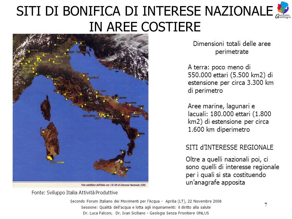 SITI DI BONIFICA DI INTERESE NAZIONALE IN AREE COSTIERE