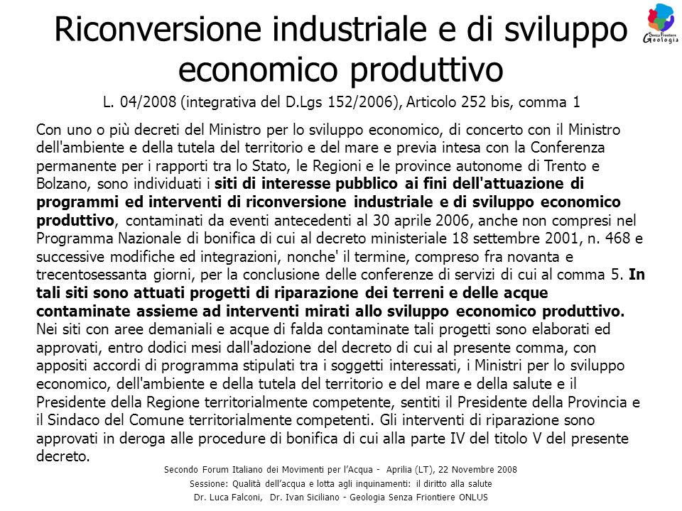 Riconversione industriale e di sviluppo economico produttivo