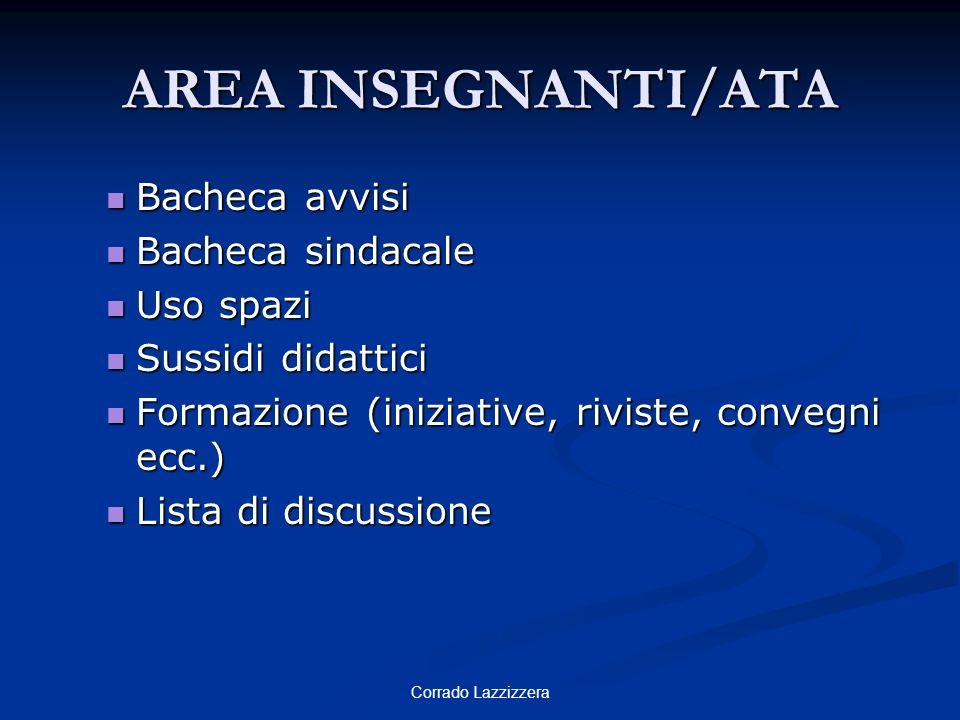 AREA INSEGNANTI/ATA Bacheca avvisi Bacheca sindacale Uso spazi