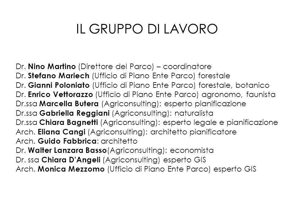 IL GRUPPO DI LAVORO Dr. Nino Martino (Direttore del Parco) – coordinatore. Dr. Stefano Mariech (Ufficio di Piano Ente Parco) forestale.