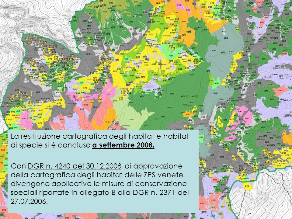 La restituzione cartografica degli habitat e habitat di specie si è conclusa a settembre 2008.