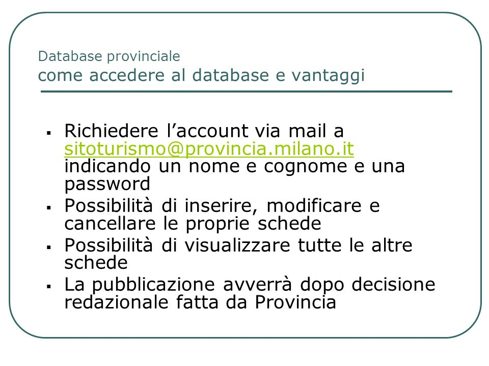 Database provinciale come accedere al database e vantaggi