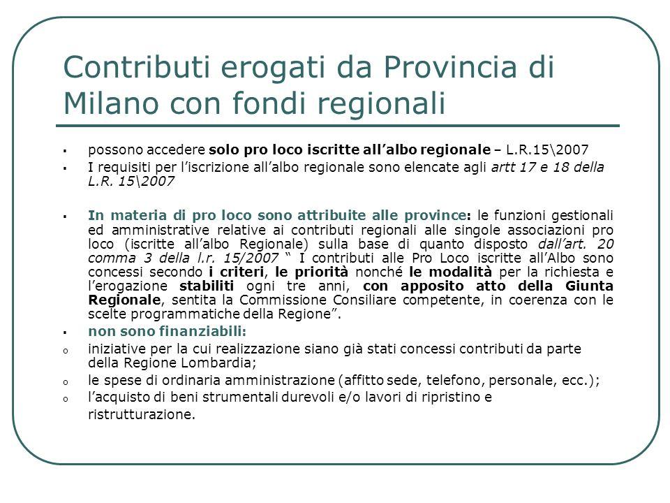 Contributi erogati da Provincia di Milano con fondi regionali