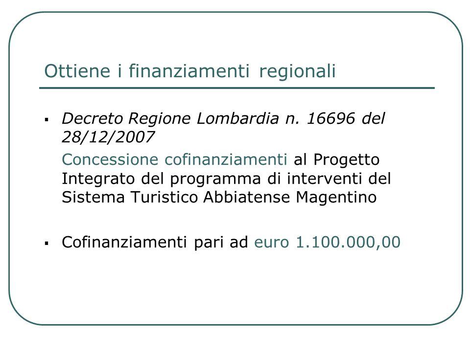 Ottiene i finanziamenti regionali