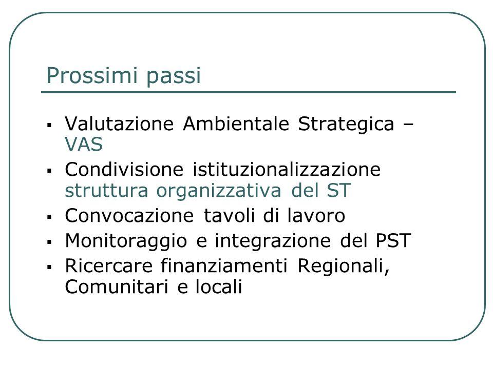 Prossimi passi Valutazione Ambientale Strategica – VAS