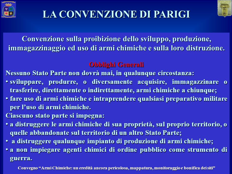 LA CONVENZIONE DI PARIGI MASTER Protezione da eventi CBRN