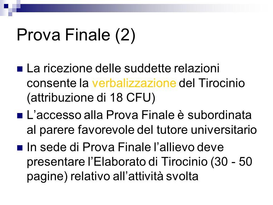 Prova Finale (2) La ricezione delle suddette relazioni consente la verbalizzazione del Tirocinio (attribuzione di 18 CFU)