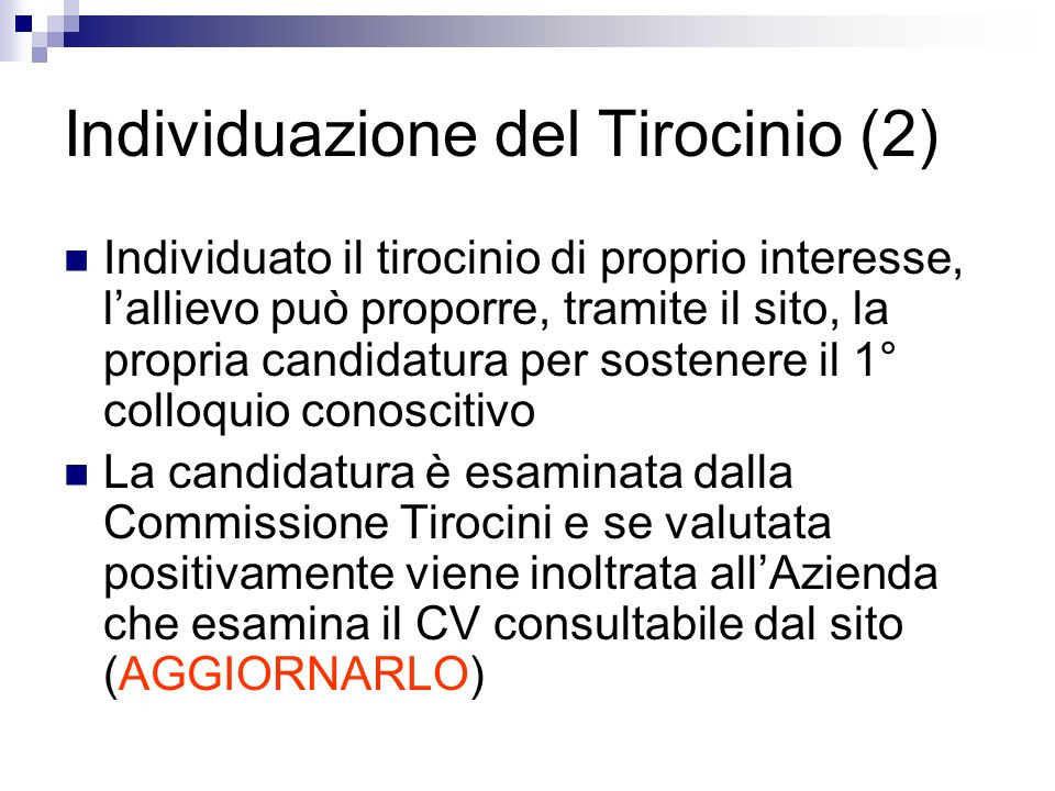 Individuazione del Tirocinio (2)