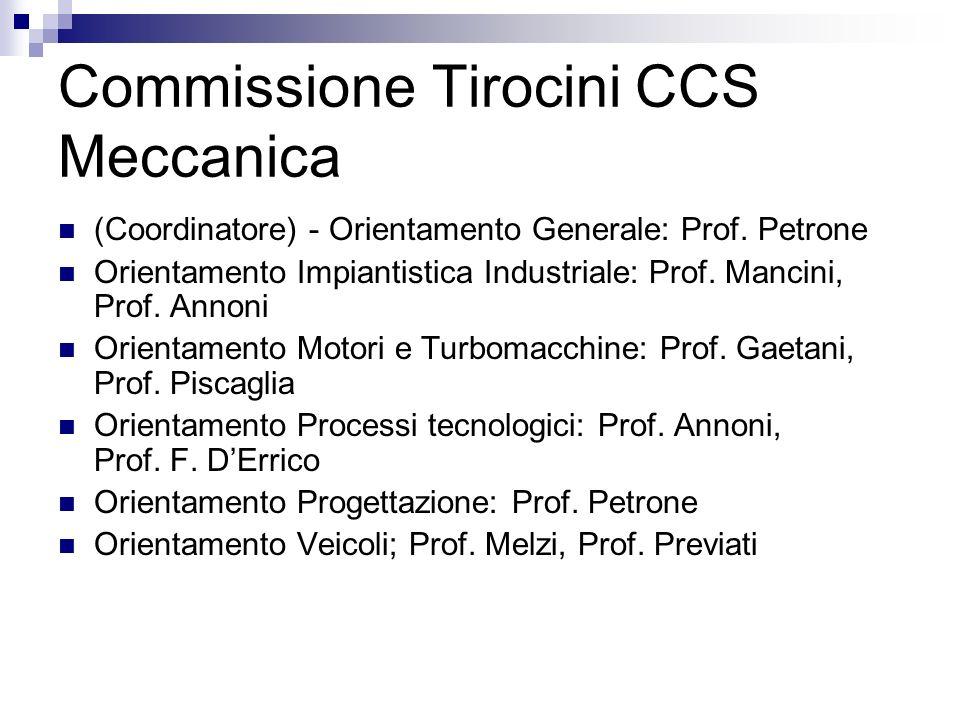 Commissione Tirocini CCS Meccanica