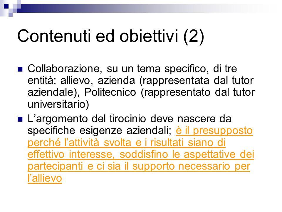 Contenuti ed obiettivi (2)