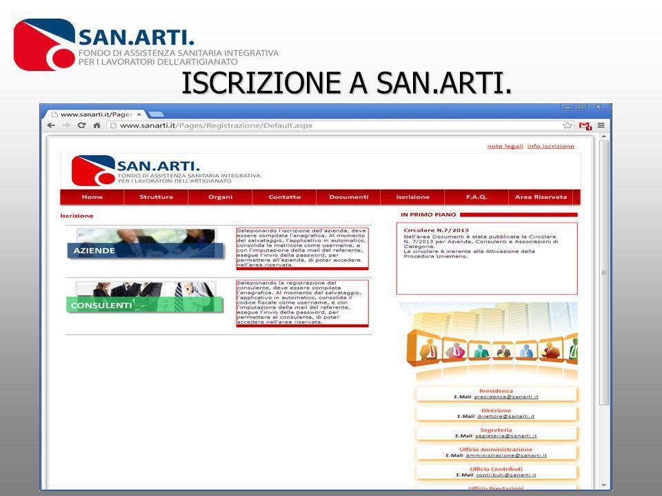ISCRIZIONE A SAN.ARTI.