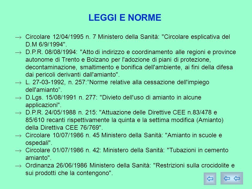 LEGGI E NORME Circolare 12/04/1995 n. 7 Ministero della Sanità: Circolare esplicativa del D.M 6/9/1994 .