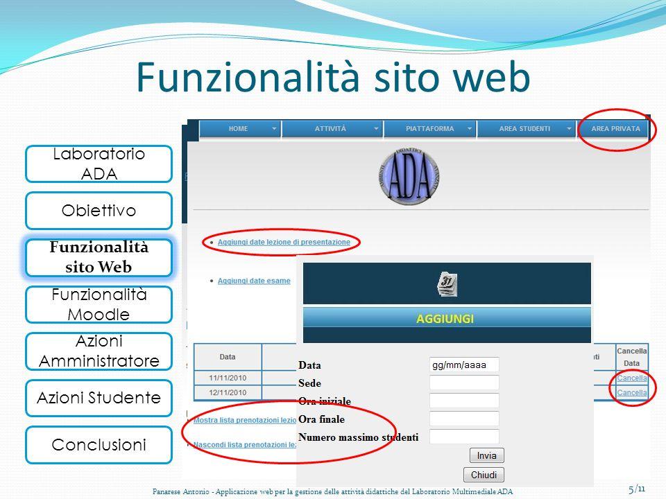 Funzionalità sito web