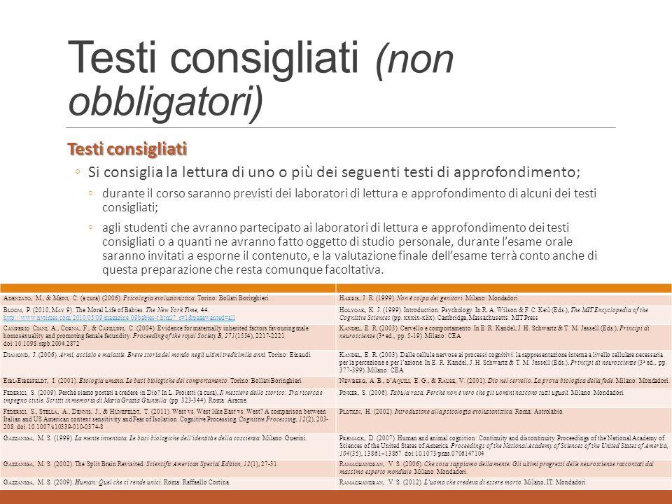 Testi consigliati (non obbligatori)