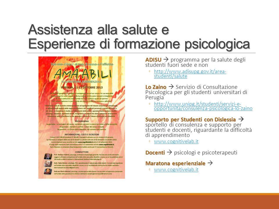 Assistenza alla salute e Esperienze di formazione psicologica
