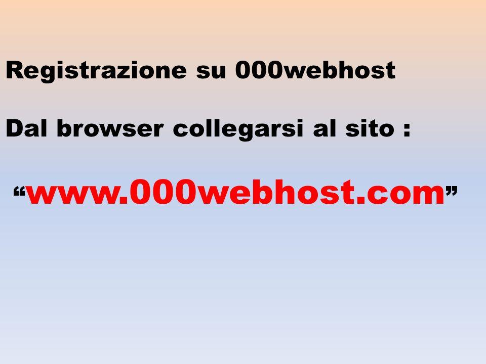 Registrazione su 000webhost