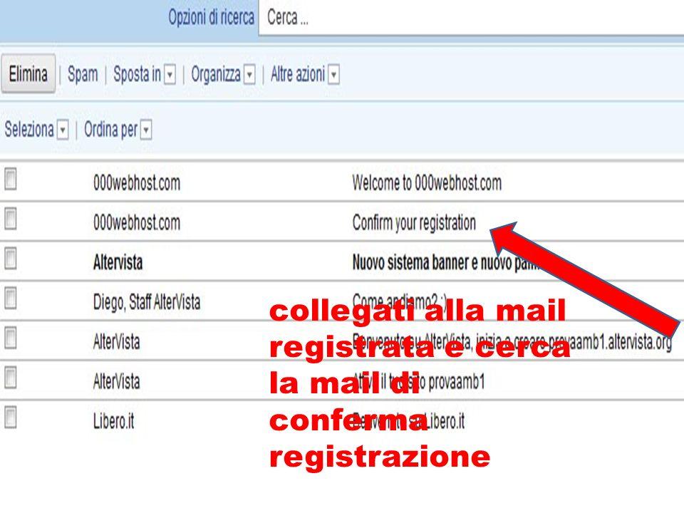 collegati alla mail registrata e cerca la mail di conferma registrazione