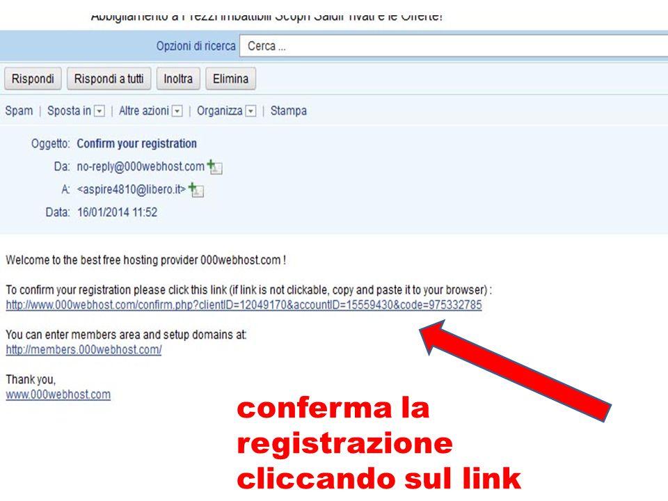 conferma la registrazione cliccando sul link