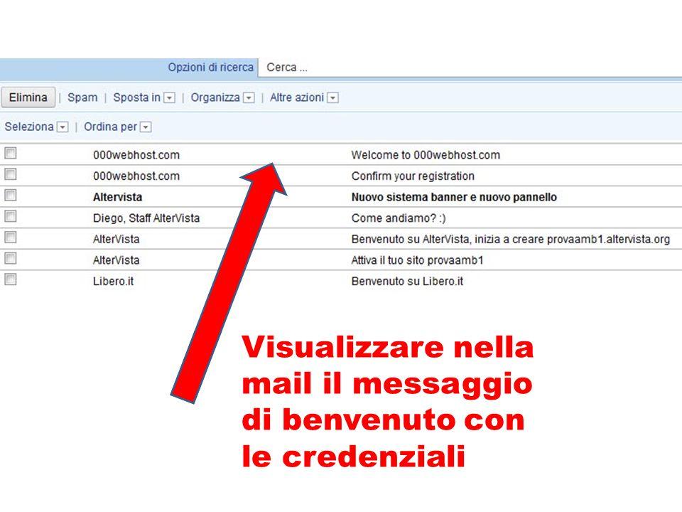 Visualizzare nella mail il messaggio di benvenuto con le credenziali
