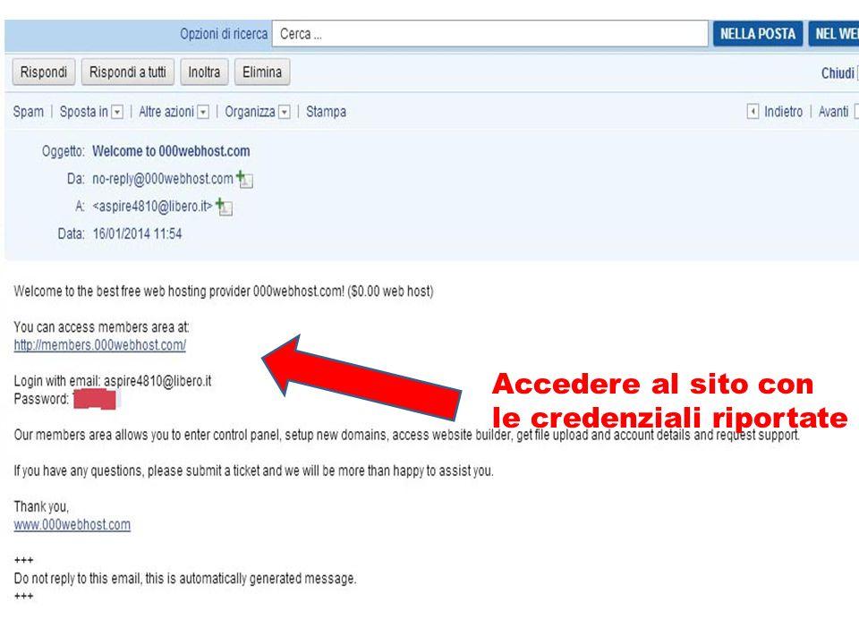 Accedere al sito con le credenziali riportate