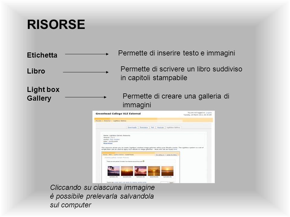 RISORSE Permette di inserire testo e immagini Etichetta
