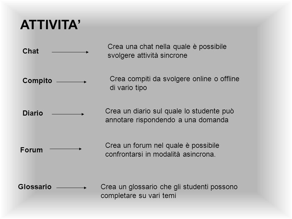 ATTIVITA' Crea una chat nella quale è possibile svolgere attività sincrone. Chat. Crea compiti da svolgere online o offline di vario tipo.