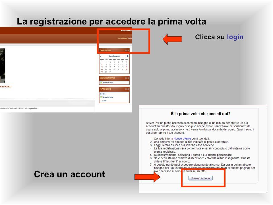 La registrazione per accedere la prima volta