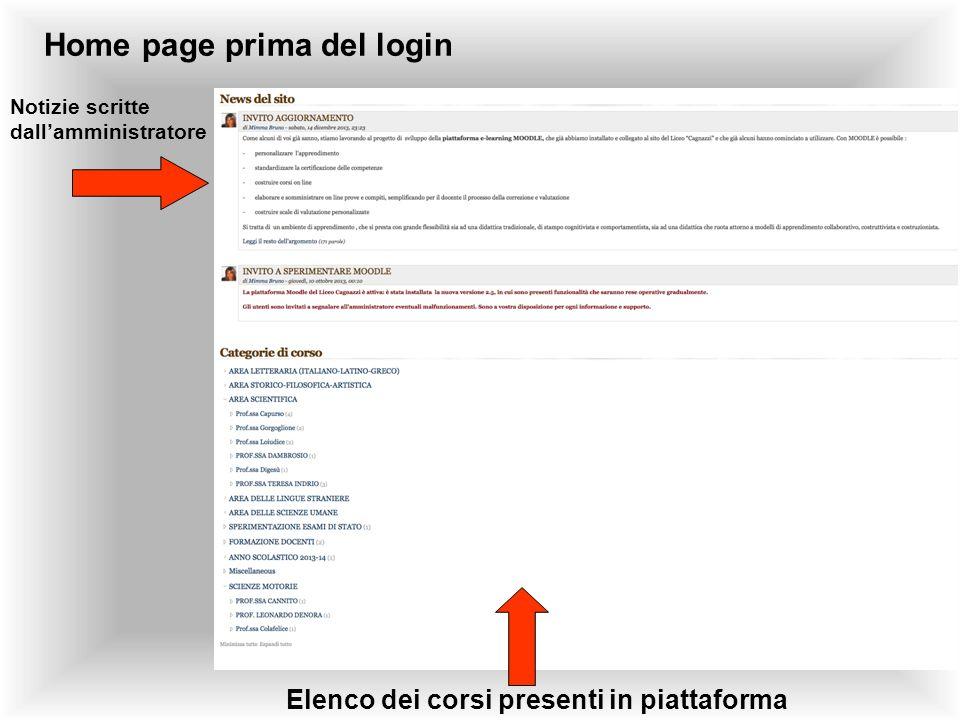 Home page prima del login