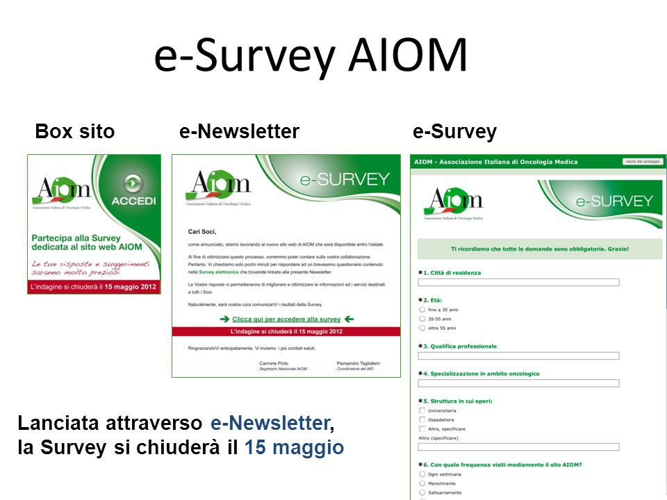 e-Survey AIOM Box sito e-Newsletter e-Survey