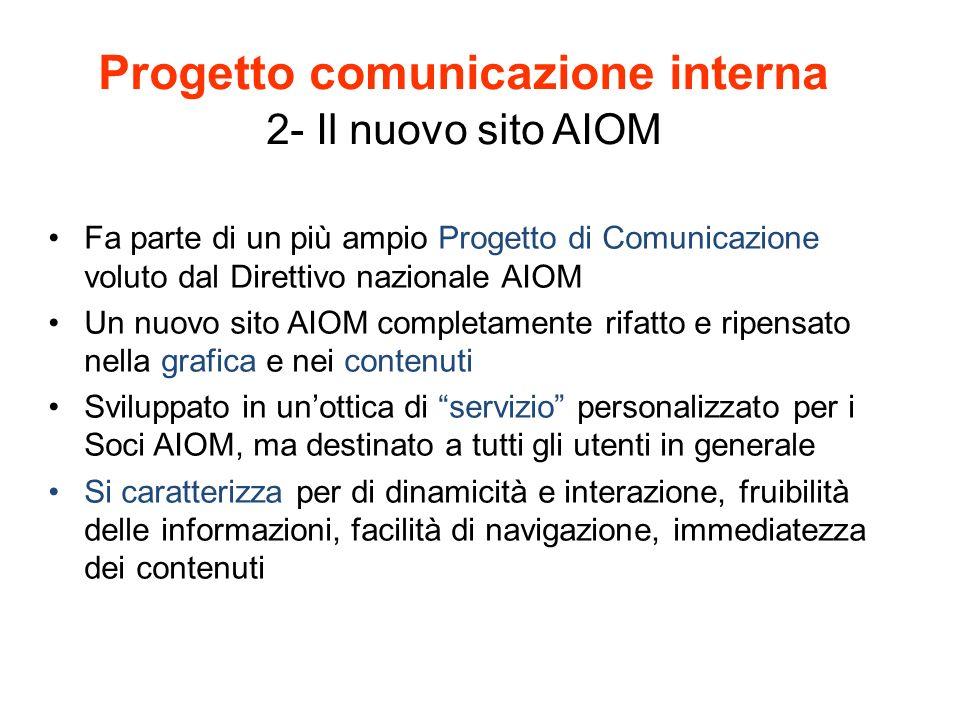 Progetto comunicazione interna 2- Il nuovo sito AIOM
