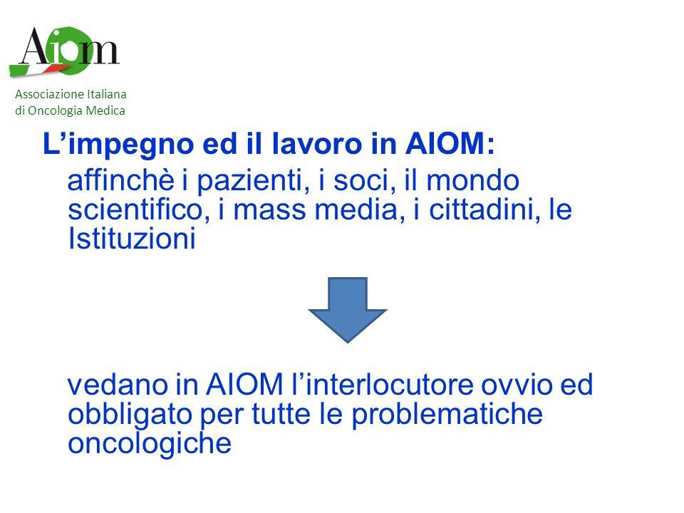 L'impegno ed il lavoro in AIOM: