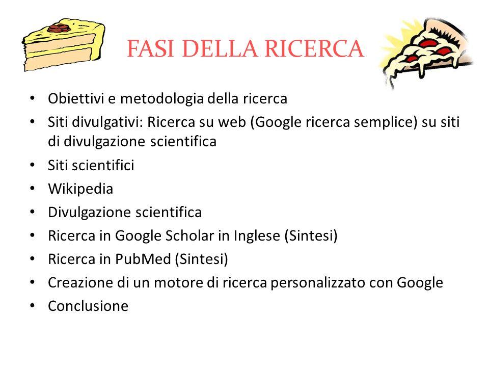 FASI DELLA RICERCA Obiettivi e metodologia della ricerca