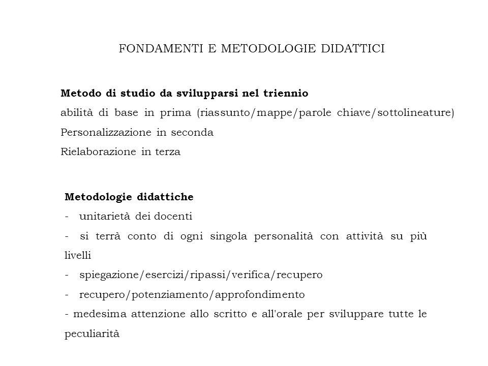 FONDAMENTI E METODOLOGIE DIDATTICI