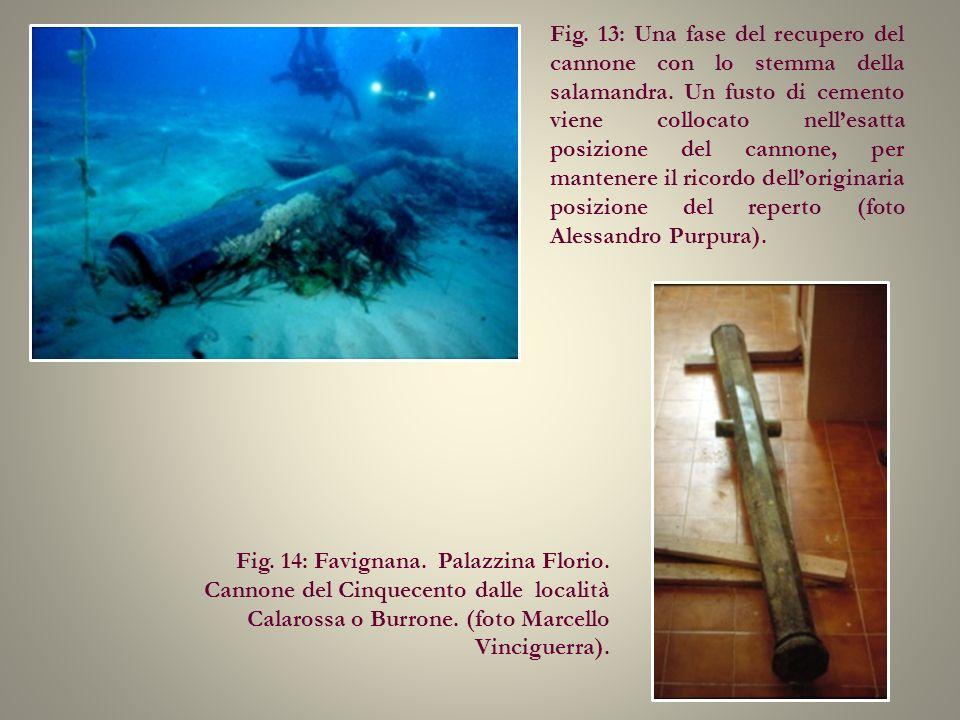 Fig. 13: Una fase del recupero del cannone con lo stemma della salamandra. Un fusto di cemento viene collocato nell'esatta posizione del cannone, per mantenere il ricordo dell'originaria posizione del reperto (foto Alessandro Purpura).