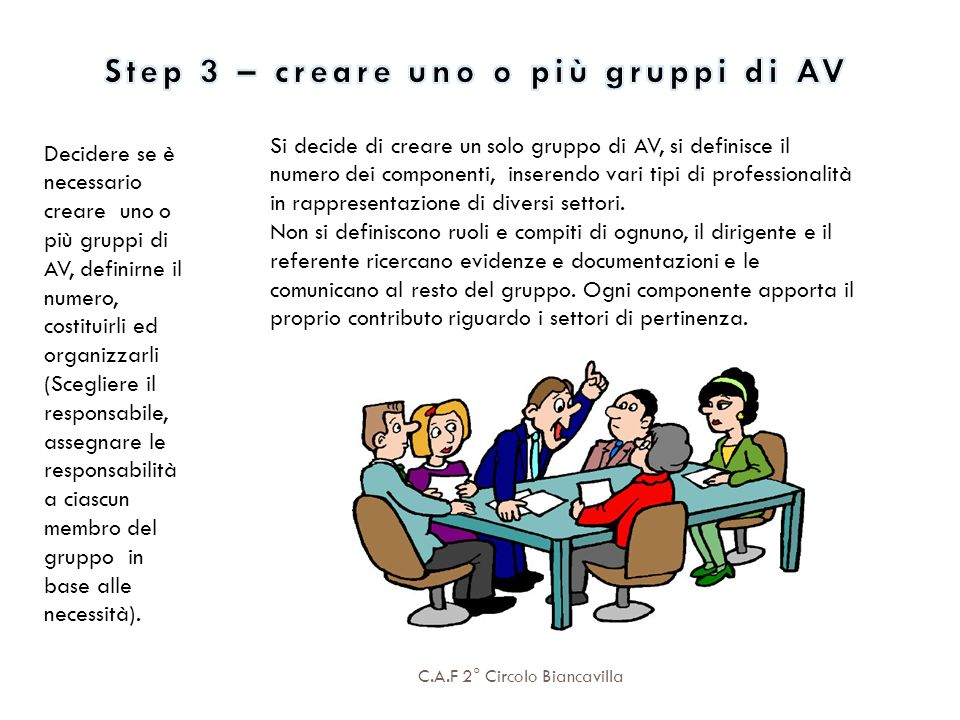 Step 3 – creare uno o più gruppi di AV