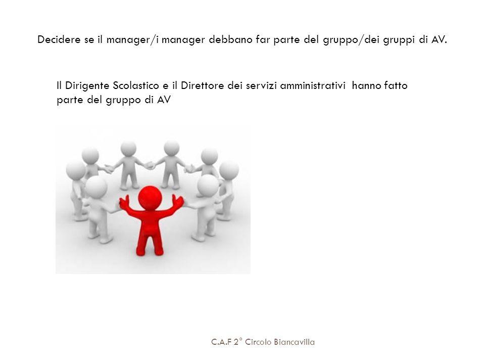 Decidere se il manager/i manager debbano far parte del gruppo/dei gruppi di AV.