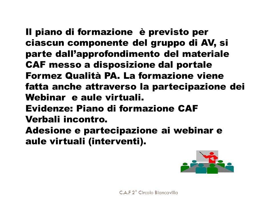Evidenze: Piano di formazione CAF Verbali incontro.