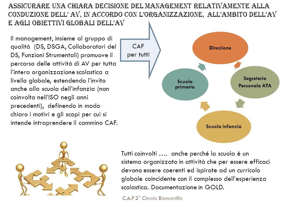 Assicurare una chiara decisione del management relativamente alla conduzione dell' AV, in accordo con l'organizzazione, all'ambito dell'AV e agli obiettivi globali dell'AV